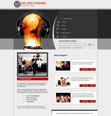 Product picture music store web template